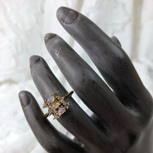 Avon opal and rhinestone cluster ring
